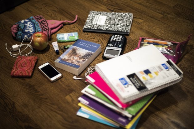 Bethesda-Chevy Chase High School (Maryland) junior Isabel Echavarria'sbackpack contains all the items she needs for the school day - no locker necessary. Must credit: Photo by J. Lawler Duggan for The Washington Post