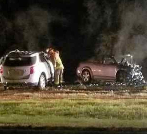 A fiery head-on car crash on Interstate-5 near Yolo resulted in all six people in the two cars being killed. (JEREMY MORGAN-COURTESY PHOTO)