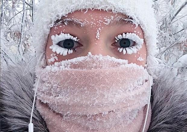 Jan. 14, 2018: Anastasia Gruzdeva poses for selfie as the temperature dropped to about -58 degrees Fahrenheit in Yakutsk, Russia. (sakhalife.ru photo via AP)