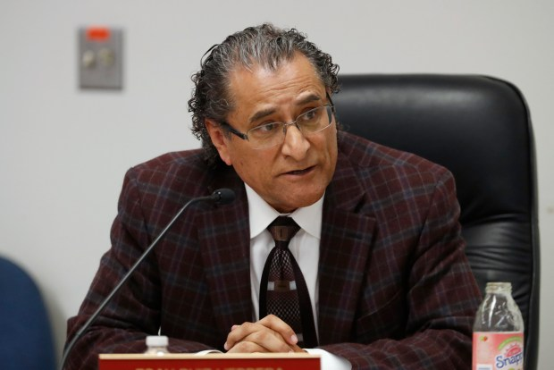 Esau Ruiz Herrera member of the board of trustees, is photographed during board meeting at Alum Rock Union Elementary School District in San Jose, Calif., on Thursday, January 11, 2018. (Josie Lepe/Bay Area News Group)