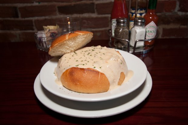 Billy's Boston Chowder House in Los Gatos offers New England style clamchowder in a bread bowl and sample platter with its lobster bisque and Manhattan chowder (Courtesy of Billy's Boston Chowder House).