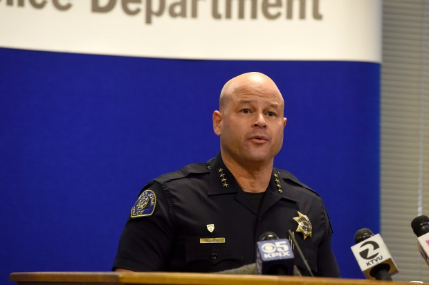 San Jose Police Chief Eddie Garcia gives an update regarding an arrest in the Harker Middle School assault and robbery case at the San Jose Police Department in San Jose, Calif., on Friday, Jan. 5, 2018. The suspect was captured on video and a two-day investigation and manhunt ended in his arrest. (Dan Honda/Bay Area News Group)