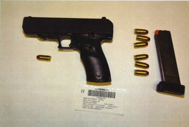 Pictured is the .45 caliber semiautomatic pistol that authorities say 24-year-old Mirza Tatlic used to kill his ex-girlfriend's parents at their Willow Glen home on May 3, 2017. Tatlic was later shot and killed by San Jose police. (Santa Clara Co. District Attorney's Office)
