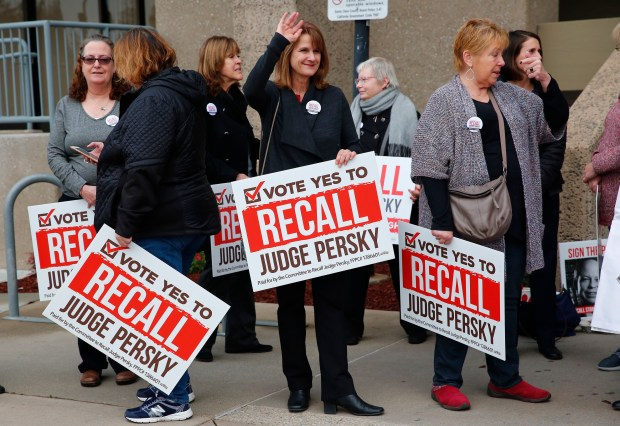 Volunteers gather at the Santa Clara County Registrar of Voters to hand over nearly 95,000 signatures on petitions to put the recall of Judge Aaron Persky on the June 5 ballot on Thursday,, Jan. 11, 2017. (Gary Reyes/Bay Area News Group)