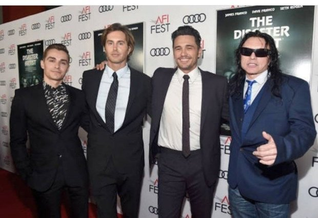 "Credit: Courtesy Greg SesteroDave Franco, Greg Sestero, James Franco and Tommy Wiseau at the South by Southwest Film Festival in March 2018 at the debut of ""The Disaster Artist."" In the movie, which opens Dec. 1, Dave Franco plays Sestero and James Franco plays Wiseau."