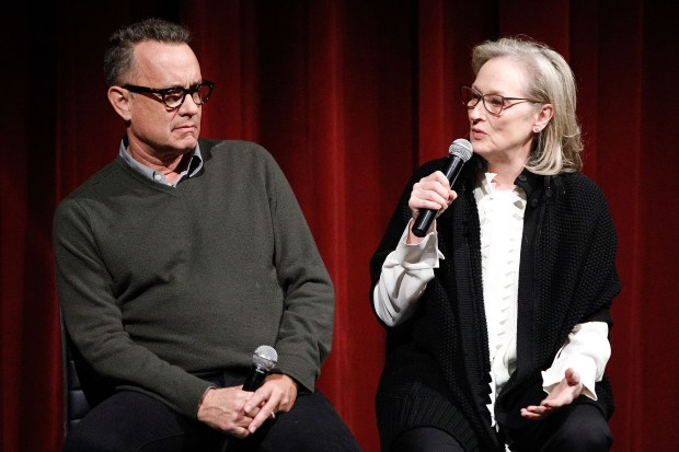 NEW YORK, NY - DECEMBER 07: Actors Tom Hanks and Meryl Streep on stage during The Academy of Motion Picture Arts & Sciences Official Academy Screening of The Post at the MOMA Celeste Bartos Theater on December 7, 2017 in New York City. (Photo by Lars Niki/Getty Images for The Academy of Motion Picture Arts & Sciences )