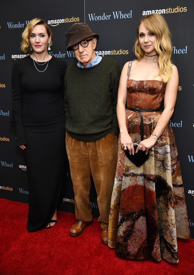 "NEW YORK, NY - NOVEMBER 14: Kate Winslet, Woody Allen and Juno Temple attend the ""Wonder Wheel"" screening at Museum of Modern Art on November 14, 2017 in New York City. (Photo by Dimitrios Kambouris/Getty Images)"