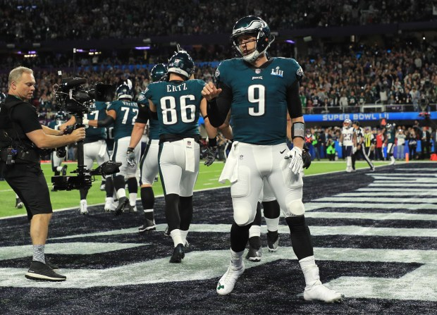 Nick Foles #9 of the Philadelphia Eagles reacts after a 1-yard touchdown reception against the New England Patriots during the second quarter in Super Bowl LII at U.S. Bank Stadium on February 4, 2018 in Minneapolis, Minnesota. (Photo by Mike Ehrmann/Getty Images)