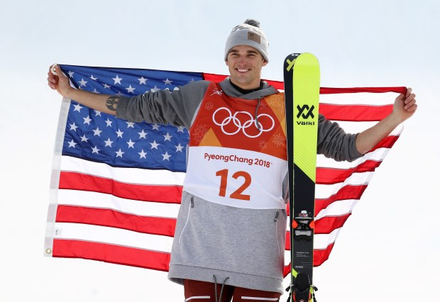 PYEONGCHANG-GUN, SOUTH KOREA - FEBRUARY 18: Silver medalist, Nick Goepper of the United States celebrates following the Freestyle Skiing Men's Ski Slopestyle Final on day nine of the PyeongChang 2018 Winter Olympic Games at Phoenix Snow Park on February 18, 2018 in Pyeongchang-gun, South Korea. (Photo by Clive Rose/Getty Images)