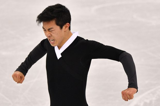 USA's Nathan Chen reacts after competing in the men's single skating free skating of the figure skating event during the Pyeongchang 2018 Winter Olympic Games at the Gangneung Ice Arena in Gangneung on February 17, 2018. / AFP PHOTO / Mladen ANTONOVMLADEN ANTONOV/AFP/Getty Images