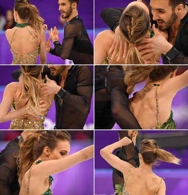 TOPSHOT - Combination picture shows France's Guillaume Cizeron performing with France's Gabriella Papadakis as the back fastening of her costume cames undone duing the ice dance short dance of the figure skating event during the Pyeongchang 2018 Winter Olympic Games at the Gangneung Ice Arena in Gangneung on February 19, 2018.French figure skater Gabriella Papadakis suffered an embarrassing wardrobe malfunction, revealing a little more than just her Olympic gold medal ambitions in the ice dance competition. A heavy title favourite along with partner Guillaume Cizeron, Papadakis's skimpy dress slipped during a raunchy short routine in Pyeongchang to leave little to the imagination of millions of television viewers around the world. / AFP PHOTO / Mladen ANTONOVMLADEN ANTONOV/AFP/Getty Images