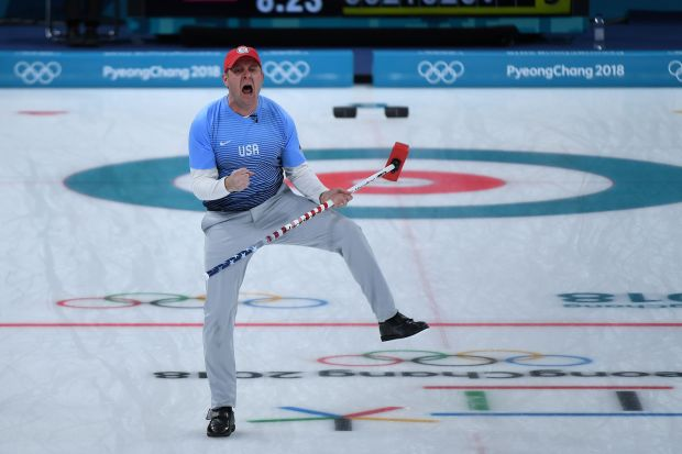 USA's John Shuster celebrates a point during the curling men's gold medal game between the USA and Sweden during the Pyeongchang 2018 Winter Olympic Games at the Gangneung Curling Centre in Gangneung on February 24, 2018. / AFP PHOTO / WANG Zhao WANG ZHAO/AFP/Getty Images