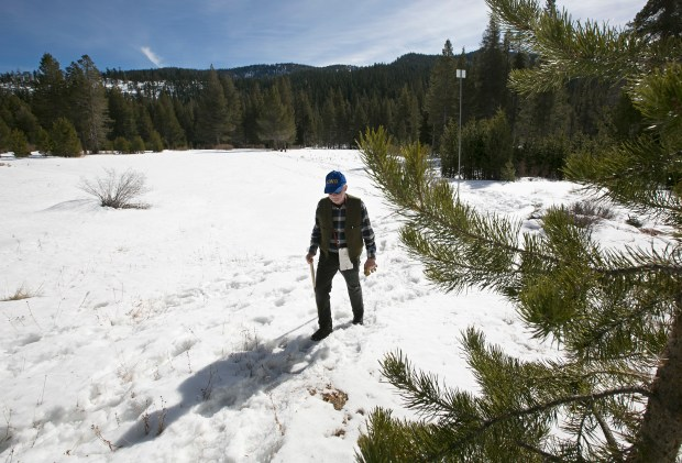 Frank Gehrke, chief of the California Cooperative Snow Surveys Program for the Department of Water Resources, leaves a snow covered meadow after conducting the second snow survey of the season Thursday, Feb. 1, 2018, near Echo Summit, Calif. The snow survey showed the snow pack at this location at just 13.6 inches of deep with a water content of 2.6 inches. (AP Photo/Rich Pedroncelli)