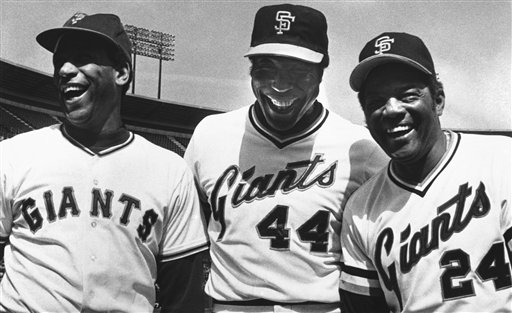 Three former San Francisco Giants got together at Candlestick Park on Sept. 20, 1980 in San Francisco for an old timers game. Memories were stirred by these three Giants greats and Orlando Cepeda, left, received one of the loudest receptions of all. Center is Willie McCovey, 44, youngster of the group who retired this year and at right is Mr. Giant, Willie Mays. They all played in an old timers game that preceded Giants Astros game. (AP Photo/RHH)