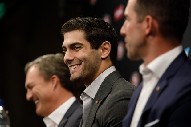 San Francisco 49ers quarterback Jimmy Garoppolo reacts during a Q&A at a press conference on Feb. 9, 2018 at Levi's Stadium in Santa Clara. (Dai Sugano/Bay Area News Group)