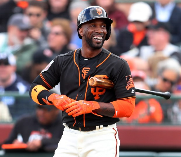 San Francisco Giants batter Andrew McCutchen is photographed during their game against the Milwaukee Brewers at Scottsdale Stadium on Feb. 23, 2018, in Scottsdale, Ariz. (Aric Crabb/Bay Area News Group)