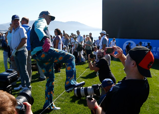 Bill Murray pretends to kick a media member during the 3M Celebrity Challenge on Wednesday, Feb. 7, 2018, at the Pebble Beach Golf Links in Carmel, Calif. (Aric Crabb/Bay Area News Group)