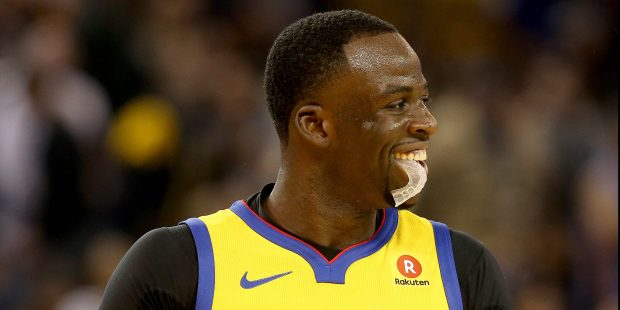 Golden State Warriors' Draymond Green (23) reacts after being called for his 15th technical foul of the season in the second quarter of their NBA game against the Oklahoma City Thunder at the Oracle Arena in Oakland, Calif., on Saturday, Feb. 24, 2018. (Jane Tyska/Bay Area News Group)