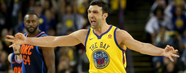 Golden State Warriors' Zaza Pachulia (27) celebrates a basket during third quarter of their NBA game against the Oklahoma City Thunder at Oracle Arena in Oakland, Calif., on Saturday, Feb. 24, 2018. The Warriors won the game 112-80. (Jane Tyska/Bay Area News Group)