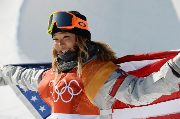 Gold medalist Chloe Kim of the United States celebrates winning the Snowboard Ladies' Halfpipe Final on day four of the PyeongChang 2018 Winter Olympic Games at Phoenix Snow Park February 12, 2018. (Photo by Hyoung Chang/The Denver Post)