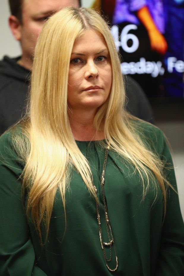WOODLAND HILLS, CA - FEBRUARY 14: Nicole Eggert (pictured) attends a press conference with Alexander Polinsky and attorney Lisa Bloom regarding sexual harassment allegations against Scott Baio at The Bloom Firm on February 14, 2018 in Woodland Hills, California. Polinsky is the second person, along with Nicole Eggert, to costarred with Baio in the 1980?s sitcom ?Charles in Charge? who have accused him of sexual harassment. Both Polinsky and Eggert were minors at the time. (Photo by Frederick M. Brown/Getty Images)