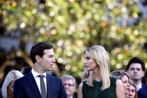WASHINGTON, DC SEPTEMBER 11: U.S. Ivanka Trump and Jared Kushner attend a ceremony on the South Lawn of the White House marking the September 11 attacks September 11, 2017 in Washington, DC. Today marks the 16th anniversary of the attacks that killed almost 3,000 people and wounded another 6,000. (Photo by Win McNamee/Getty Images)