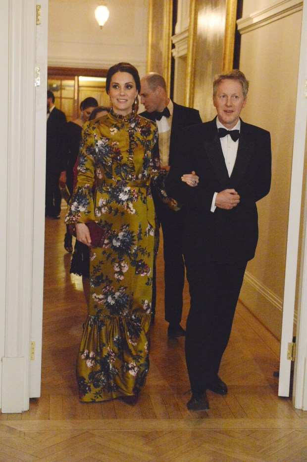 STOCKHOLM, SWEDEN - JANUARY 30: Catherine, Duchess of Cambridge is escorted by the British Ambassador to Sweden David Cairns for dinner at the British Ambassador's residence during day one of her Royal visit to Sweden and Norway with Prince William, Duke of Cambridge on January 30, 2018 in Stockholm, Sweden. (Photo by Mark Stewart - Pool/Getty Images)