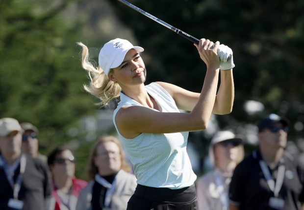 Actress Kelly Rohrbach during the 3M Celebrity Shoot-Out at the Pebble Beach Golf Links in Pebble Beach on Wednesday, Feb. 7, 2018. (Vern Fisher - Monterey Herald)
