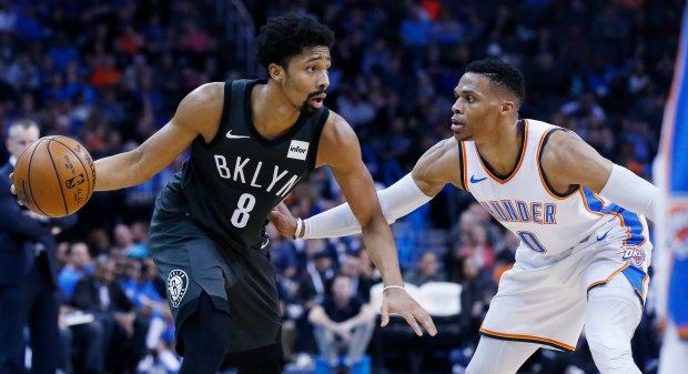 24263c023 Brooklyn Nets guard Spencer Dinwiddie (8) drives against Oklahoma City  Thunder guard Russell Westbrook