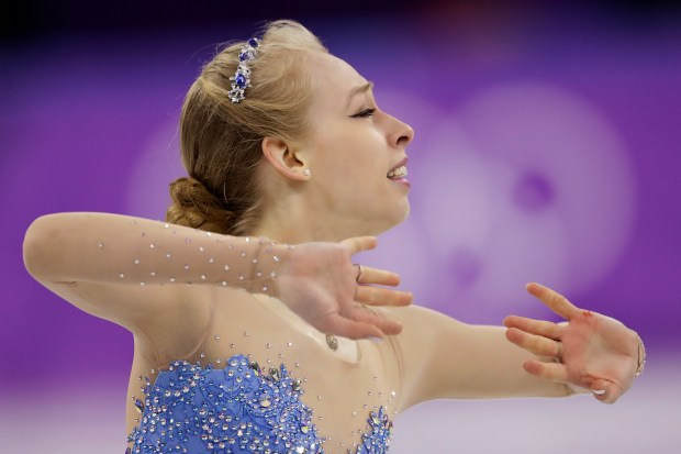 Bradie Tennell of the United States performs during the women's free figure skating final in the Gangneung Ice Arena at the 2018 Winter Olympics in Gangneung, South Korea, Friday, Feb. 23, 2018. (AP Photo/Bernat Armangue)