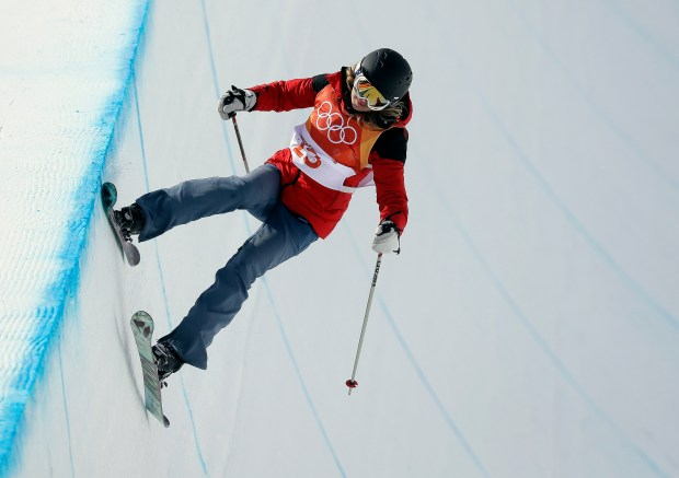 Oakland's Liz Swaney, competing for Hungary, runs the course during the women's halfpipe qualifying at Phoenix Snow Park at the 2018 Winter Olympics in Pyeongchang, South Korea, Monday, Feb. 19, 2018. (AP Photo/Kin Cheung)