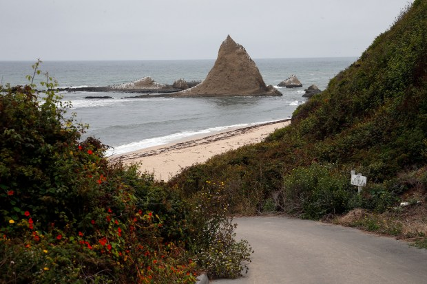 The road to Martins Beach is empty,Tuesday, Aug. 29, 2017, on an overcast day near Half Moon Bay, California. (Karl Mondon/Bay Area News Group)