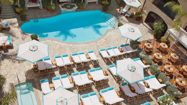 The Mediterranean-style swimming pool at the historic Four Seasons BeverlyWilshire was inspired by Sophia Loren's pool in Italy. (Four Seasons)