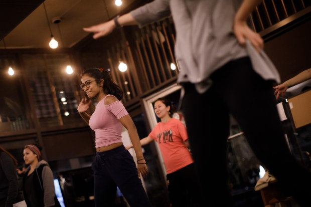 Students including Abhilasha Jain, center left, practice a dance style, waacking, on Jan. 30, 2018, at The Get Down, a new dance studio, which opened in 2016 in San Jose's Japantown. (Dai Sugano/Bay Area News Group)
