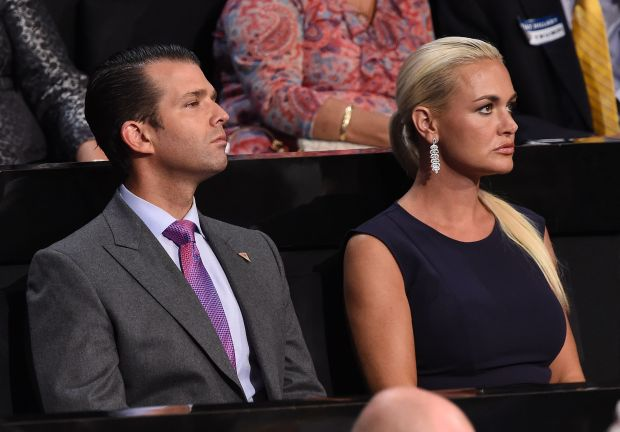 (FILES) In this file photo taken on July 21, 2016 Donald Trump Jr., and his wife Vanessa Trump look on during the Republican National Convention at the Quicken Loans Arena in Cleveland, Ohio.A 24-year-old Massachusetts man was arrested and charged on March 1, 2018 with sending a threatening message and suspicious white powder to President Donald Trump's eldest son last month, officials said. The letter was opened at Donald Trump Jr's New York apartment on February 12. His wife Vanessa was taken to hospital as a precaution after opening the envelope. Daniel Frisiello from Beverly, north of Boston, allegedly sent the letter and similar threats to four other prominent individuals across the country. / AFP PHOTO / Robyn BECKROBYN BECK/AFP/Getty Images