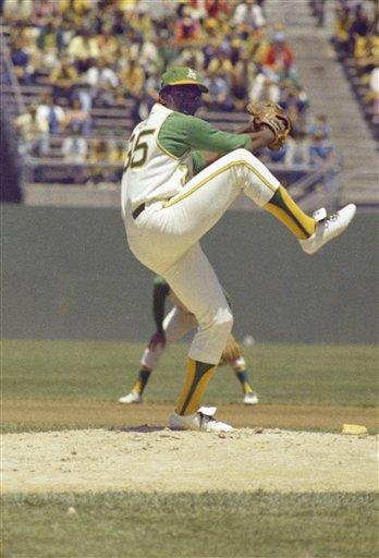 Oakland Athletics baseball player Blue Vida in action, 1971. (AP Photo)