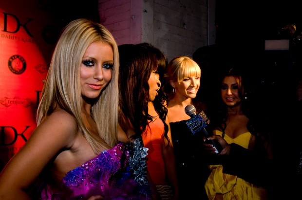 NEW YORK - MARCH 18: Danity Kane singer Aubrey O'Day (L) along with fellow band mate are interviewed at the Danity Kane album release party at Tenjune March 18, 2008 in New York City. (Photo by Steven Henry/Getty Images)