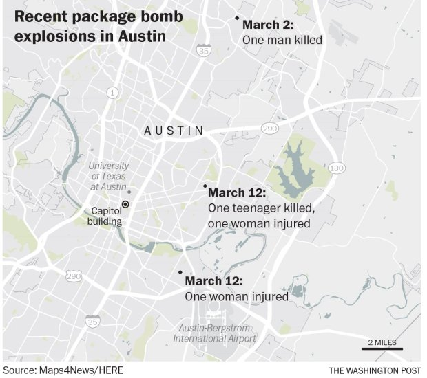 Recent package bomb explosions in Austin (The Washington Post)