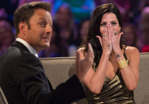 Chris Harrison and Becca during 'The Bachelor: After the Final Rose.' (ABC/Paul Hebert)