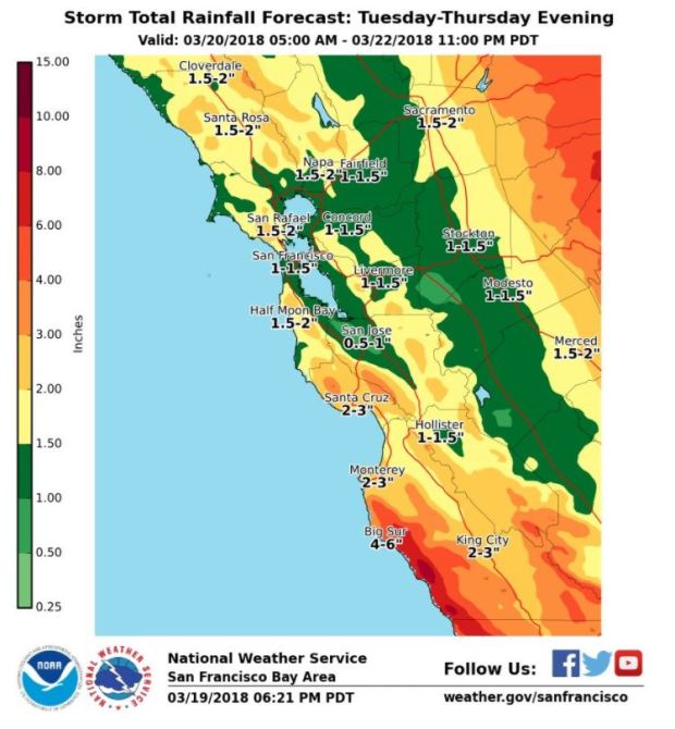 Three-day rainfall estimates for the Bay Area, from the National Weather Service.