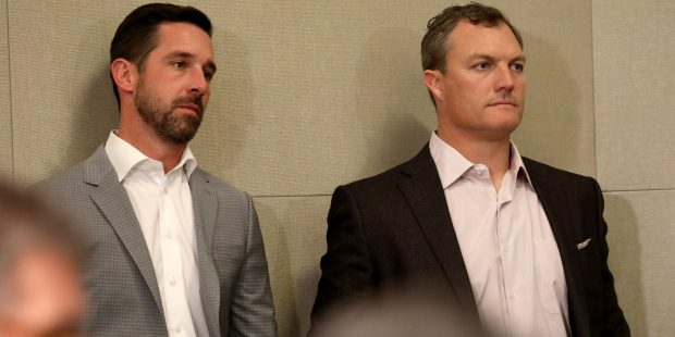 San Francisco 49ers head coach Kyle Shanahan and the team's general manager John Lynch, watch the Richard Sherman press conference, Tuesday, March 20, 2018, at the San Francisco 49ers headquarters in Santa Clara, Calif. Sherman recently signed a contract to play with San Francisco. (Karl Mondon/Bay Area News Group)