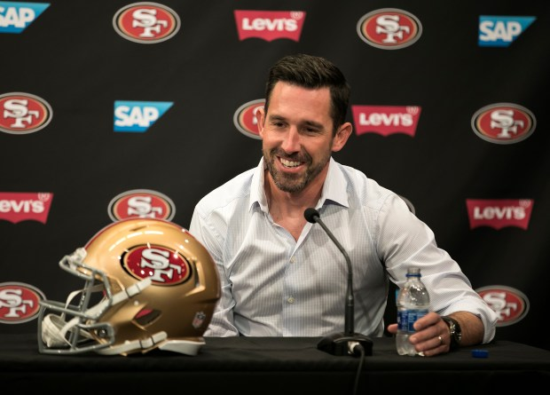 The San Francisco 49ers Head Coach Kyle Shanahan speaks at a press conference to introduce new players, running back Jerick McKinnon and offensive lineman Weston Richburg, at Levi's Stadium in Santa Clara, California, on Thursday, March 15, 2018. (LiPo Ching/Bay Area News Group)