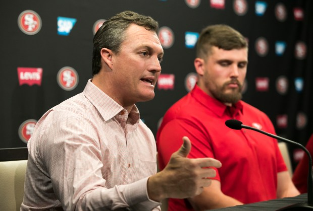 The San Francisco 49ers General Manager John Lynch and Head Coach Kyle Shanahan introduce new players, running back Jerick McKinnon and offensive lineman Weston Richburg, at Levi's Stadium in Santa Clara, California, on Thursday, March 15, 2018. (LiPo Ching/Bay Area News Group)