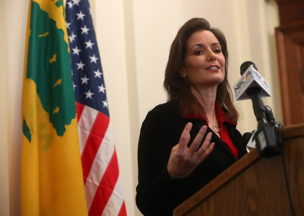 Oakland Mayor Libby Schaaf speaks to the media about immigration on Wednesday, March 7, 2018 in Oakland, Calif. (Aric Crabb/Bay Area News Group)