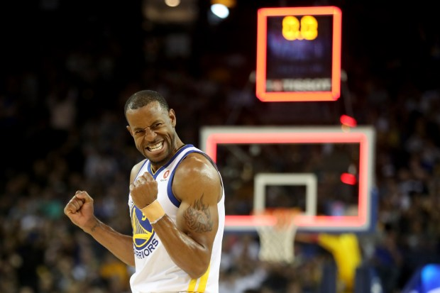 Golden State Warriors' Andre Iguodala (9) reacts at the end of the third quarter of an NBA game against the Indiana Pacers at Oracle Arena in Oakland, Calif., on Tuesday, March 27, 2018. (Ray Chavez/Bay Area News Group)