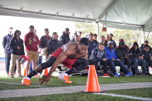 Stanford defensive back Quenton Meeks performs a drill during the NFL pro day hosted by the Cardinal on Thursday, March 22, 2018. (Don Feria / Stanford Athletics)