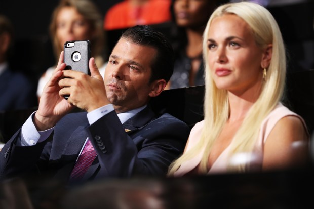 Donald Trump Jr. along with his wife Vanessa Trump, attend the second day of the Republican National Convention on July 19, 2016 at the Quicken Loans Arena in Cleveland, Ohio. Republican presidential candidate Donald Trump received the number of votes needed to secure the party's nomination. An estimated 50,000 people are expected in Cleveland, including hundreds of protesters and members of the media. The four-day Republican National Convention kicked off on July 18. (Photo by John Moore/Getty Images)