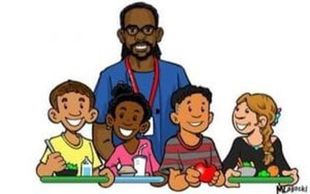 "Drawing of Philando Castile and kids on the ""Philando Feeds the Children""fundraising page. MUST CREDIT: Courtesy of ""Philando Feeds the Children."""