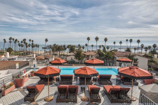 The rooftop pool deck at Santa Barbara's new Hotel Californian offers oceanviews. (Hotel Californian)