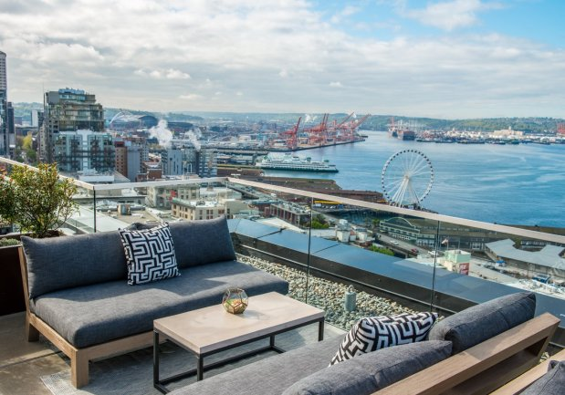 Ever since it opened in 2016, The Nest, a rooftop bar at Seattle's ThompsonHotel, has been one of the best spots in the city to enjoy a cocktail and the waterfront view. (Courtesy of Thompson Seattle)